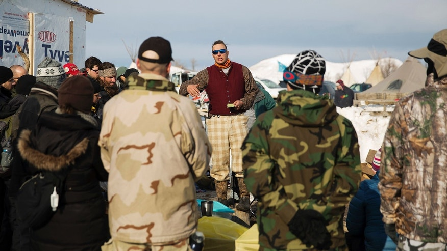 Dec. 3, 2016: A group of veterans attend a briefing at the Oceti Sakowin camp where people have gathered to protest the Dakota Access oil pipeline in Cannon Ball, N.D.