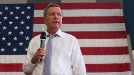 In this photo taken April 25, 2016, Ohio Gov. John Kasich speaks during a town hall at Thomas farms Community Center in Rockville, Md. According to AP sources: Kasich will end his bid for White House. (AP Photo/Evan Vucci)
