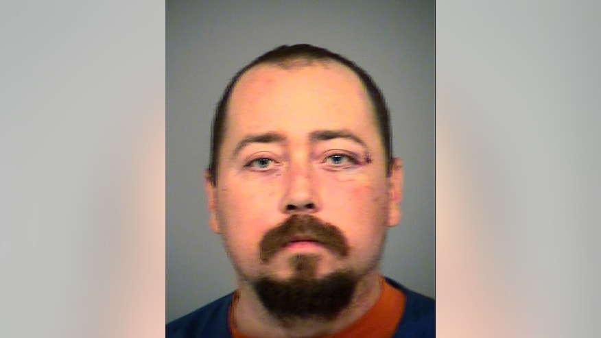 CORRECTS TO CLARIFY THAT MATTESON  WAS INVOLVED IN THE CRIME BUT DID NOT COMMIT IT ACCORDING TO THE POLICE - This Sunday, Dec. 11, 2016, photo released by the Ventura County Sheriff's Office shows John Matteson. Police in a Southern California suburb are still seeking a man suspected of a hate crime for stabbing a worshipper near a mosque, authorities said. Matteson was involved in the crime, but he was not the one who wielded the knife and stabbed a worshipper from the Islamic Center of Simi Valley, police said Monday, Dec. 12. He was booked on suspicion of making criminal threats, violating civil rights and disturbing the peace by fighting, Ventura County jail records show. (Ventura County Sheriff's Office via AP )