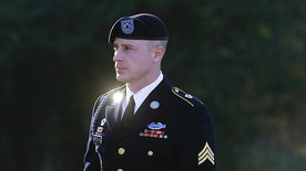 FILE - In this Jan. 12, 2016, file photo, Army Sgt. Bowe Bergdahl arrives for a pretrial hearing at Fort Bragg, N.C.  Bergdahl is due back in court for a pretrial hearing on accusations that he endangered fellow service members by walking off his post in Afghanistan in 2009. The Friday, Dec. 16 hearing will likely include further arguments on whether prosecutors should be allowed to admit evidence of injuries to service members who searched for Bergdahl.  (AP Photo/Ted Richardson, File)