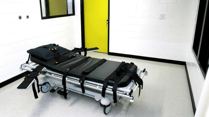 FILE - This Oct. 24, 2001 file photo shows the death chamber at the state prison in Jackson, Ga. (AP Photo/Ric Feld, File)