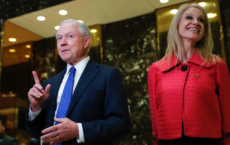 In this photo taken Nov. 17, 2016, Sen. Jeff Sessions, R-Ala., accompanied by Trump campaign manager Kellyanne Conway, speaks to media at Trump Tower in New York. President-elect Donald Trump has picked Sessions for the job of attorney general. (AP Photo/Carolyn Kaster)