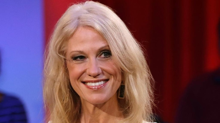 In this Dec. 1, 2016 photo, Kellyanne Conway, Trump-Pence campaign manager, is shown prior to a forum at Harvard University's Kennedy School of Government in Cambridge, Mass.  Conway is headed to the White House, where she'll serve as counselor to the president.  The announcement was made by the president-elect's transition team early Thursday.   (AP Photo/Charles Krupa)