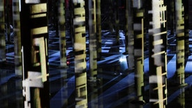 "In this Friday, Dec. 16, 2016, photo, the exhibition of an abstract-video installation called ""Rain"" by Venezuelan artist Magdalena Fernández is projected inside a former water reservoir dubbed the ""Cistern"" in Houston. Once eyed for demolition, the former water reservoir built in 1926 has now found new life as a public space that's also serving as an unusual canvas for art. The reservoir's rebirth is the latest example of efforts by cities around the country to reuse and repurpose abandoned and dilapidated pieces of infrastructure as public spaces. (AP Photo/David J. Phillip)"
