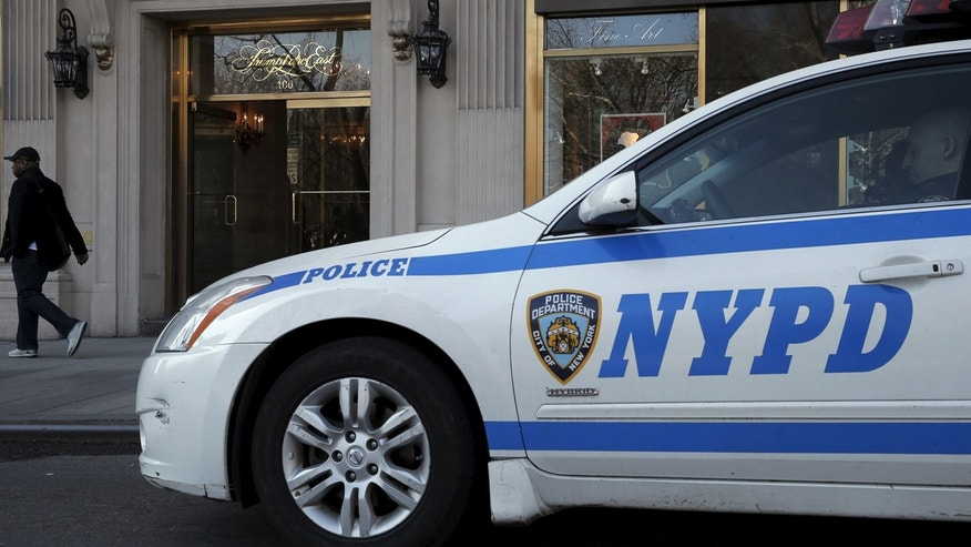 A NYPD car is seen in Manhattan