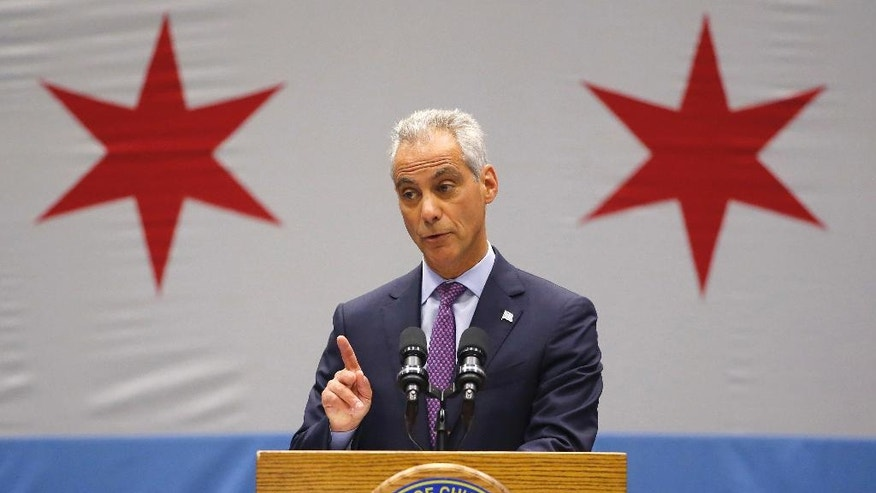 FILE - In this Sept. 22, 2016, file photo, Chicago Mayor Rahm Emanuel speaks during a news conference at the Malcolm X Community College in Chicago. Emanuel's decision to release thousands of pages of private emails does not end a dispute in Illinois about public access to such emails from him and other officials when they deal with government business. Emanuel announced late Wednesday, Dec 21, 2016, that he had settled a lawsuit by a government watchdog group over emails from his personal accounts, but it allows him and his personal lawyer to decide which emails are public records and which are not. (AP Photo/Charles Rex Arbogast)