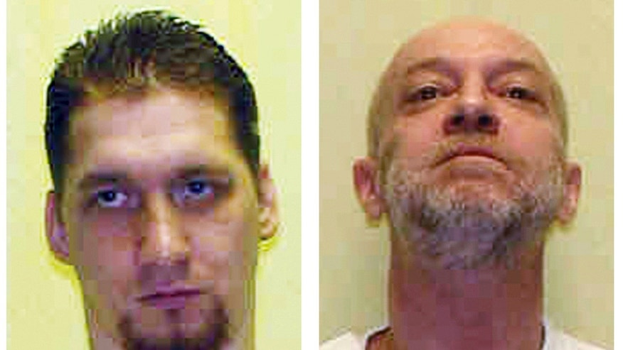 FILE - These undated file combination photo provided by the Ohio Department of Rehabilitation and Corrections shows death row inmates Ronald Phillips and Raymond Tibbetts.