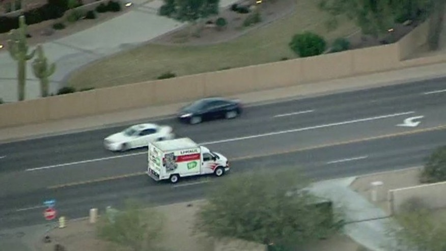 The U-Haul truck being chased by police.