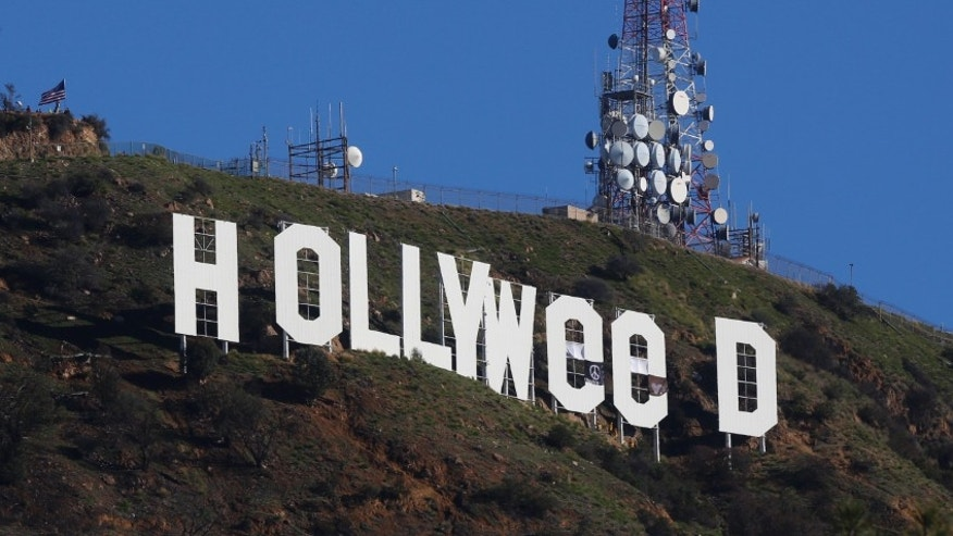 "The ""Hollywood"" sign was altered to read ""Hollyweed"" on Sunday."