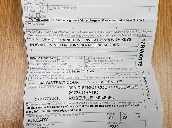 Driver ticketed for warming car in his own driveway