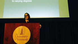 University of Vermont professor Stephanie Seguino addresses an audience Monday, Jan. 9, 2017, in Burlington, Vt., while discussing the findings of a study that has found racial disparities in how police treat drivers in the state. The study looked at 2015 traffic stop data from 29 police departments around Vermont. Among the findings, black drivers were four times more likely than whites to be searched after traffic stops, and Hispanic drivers were nearly three times more likely. (AP Photo/Lisa Rathke)