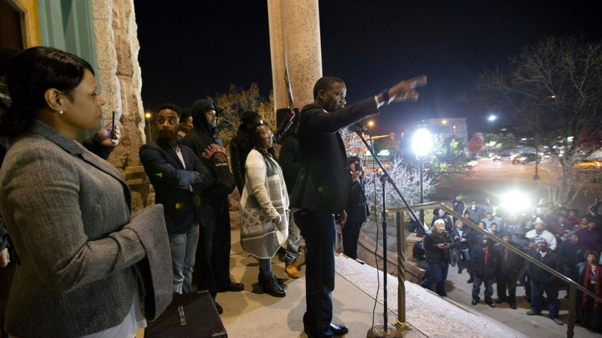 Minister Dominique Alexander, president and founder of Next Generation Action Network, spoke to the crowd gathered to protest against the Fort Worth police.