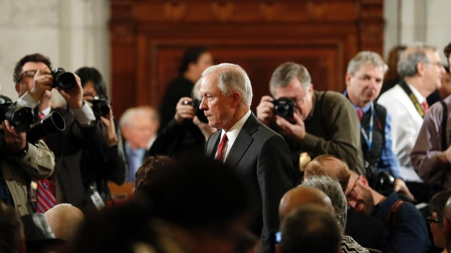 Attorney General-designate, Sen. Jeff Sessions, R-Ala., arrives on Capitol Hill in Washington, Tuesday, Jan. 10, 2017, to testify at his confirmation hearing before the Senate Judiciary Committee. (AP Photo/Alex Brandon)