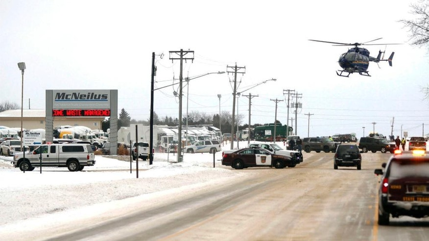 Emergency responders are called to a Mc Neilus Truck & Manufacturing facility in Dodge Center Minn. after a report of a possible explosion at the plant that injured several people Wednesday Jan. 11 2017. The incident occurred about 10:20 a.m. Fire