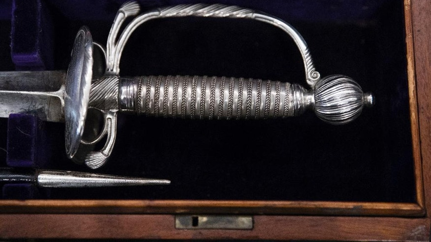 The hilt of a sword that belonged to General Hugh Mercer is displayed at the Museum of the American Revolution in Philadelphia, Thursday, Jan. 12, 2017. Mercer who was a friend of George Washington fought and died of wombs sustained during the American Revolution. The St. Andrew's Society of Philadelphia presented the sword to the new museum on the 240th anniversary of Mercer's death. (AP Photo/Matt Rourke)