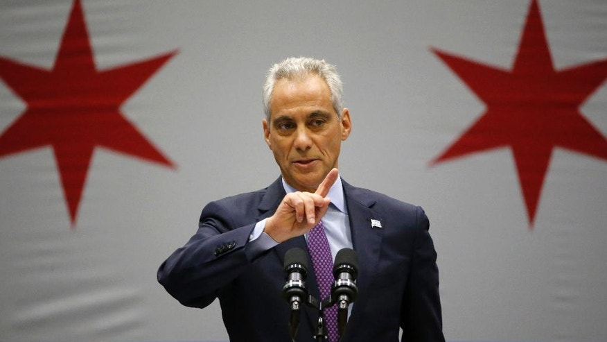 FILE - In this Sept. 22, 2016 file photo, Chicago Mayor Rahm Emanuel speaks at an event, in Chicago. The Department of Justice is poised to release its report detailing the extent of civil rights violations committed by the Chicago Police Department. The next stage after the Friday Jan. 13, 2017 release will be negotiations between the DOJ and the city. (AP Photo/Charles Rex Arbogast File)