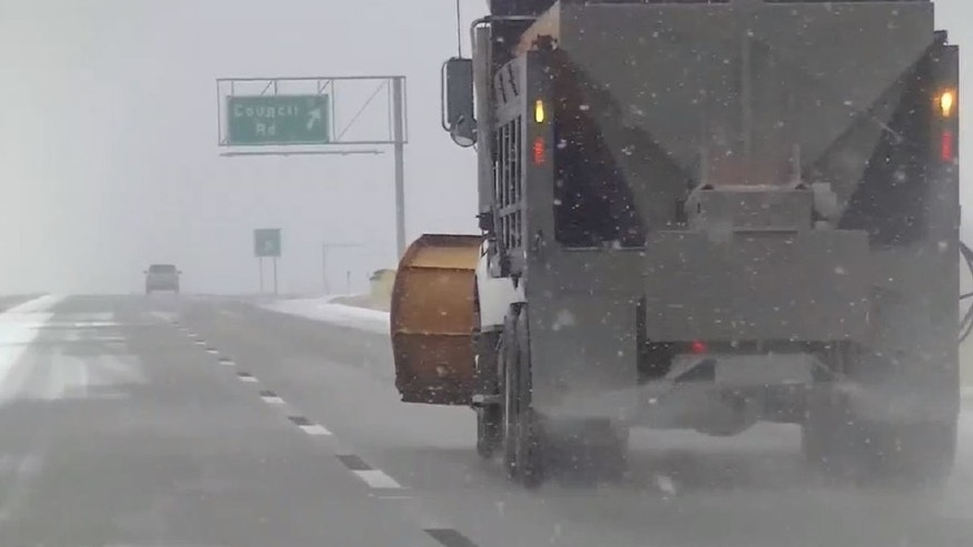Crews pre-treating roads ahead of the storm in Oklahoma City.