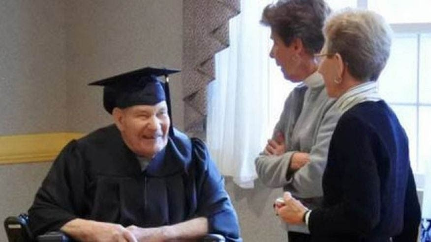 90-year-old World War II Navy Seabee Lou Schipper was awarded his high school diploma Friday. (St. Xavier High School)