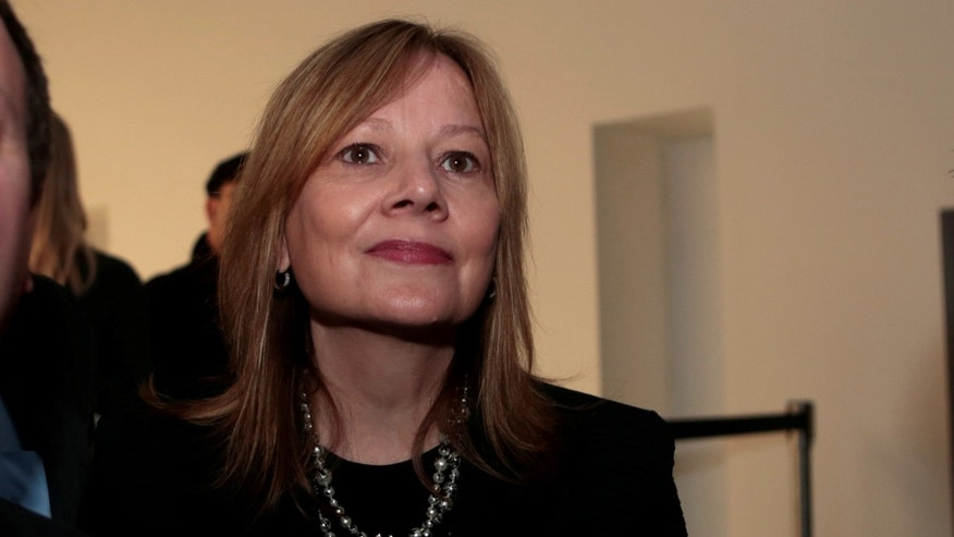 General Motors CEO and chairperson Mary Barra talks with reporters after the introduction of the  GMC 2018 Terraine SUV before the start of press days for the North American International Auto Show in Detroit, Michigan, U.S.,  January 8, 2017.   REUTERS/Rebecca Cook - RTX2Y0RI