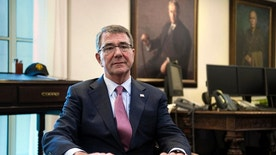 Secretary of Defense Ash Carter is interviewed in his Pentagon office, Wednesday, Jan. 18, 2017. Sending thousands more American troops into Iraq or Syria in a bid to accelerate the defeat of the Islamic State group would push U.S. allies to the exits, create more anti-U.S. resistance and give up the U.S. military's key advantages, Carter said in an Associated Press interview.(AP Photo/Cliff Owen)
