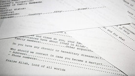 FILE - In this May 20, 2015 file photo, translated copy of an application to join Osama bin Laden's terrorist network are seen in Washington. The Obama administration is releasing the last of three installments of documents belonging to Osama bin Laden that were found in the terrorist's secret compound in 2011. (AP Photo, File)