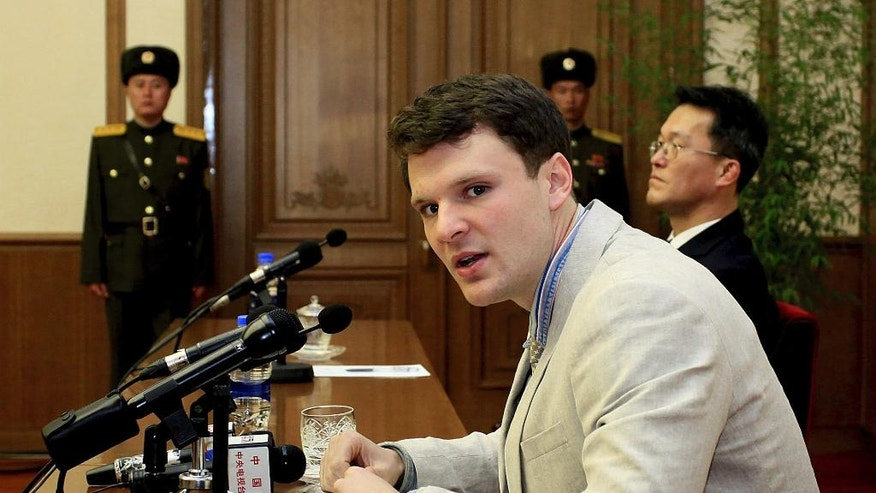 FILE – In this Feb. 29, 2016, file photo, American student Otto Warmbier speaks as Warmbier is presented to reporters in Pyongyang, North Korea. North Korea announced Warmbier's detention Jan. 22, 2016, and the University of Virginia student from suburban Cincinnati was sentenced in March 2016 to 15 years in prison at hard labor after a televised confession that he tried to steal a propaganda banner. As President Donald Trump's administration takes office one year later, there's been little public word about what has happened to Warmbier. (AP Photo/Kim Kwang Hyon, File)