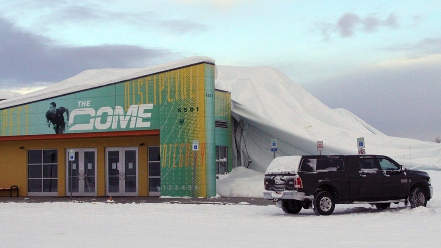 The Dome, a 180,000-square foot indoor sports facility in Anchorage, Alaska, is seen on Tuesday, Jan. 24, 2017, three days after the thin, flexible plastic roof collapsed in the midst of a snowstorm.