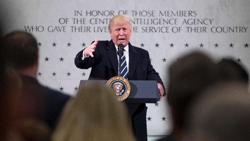 "In this Jan. 21, 2017, photo, President Donald Trump speaks at the Central Intelligence Agency in Langley, Va. No one knows how seriously to take Trump's threat to seize Iraq's oil. Doing so would involve extraordinary costs and risk confrontation with America's best ground partner against the Islamic State, but the president told the CIA: ""Maybe you'll have another chance."" (AP Photo/Andrew Harnik)"