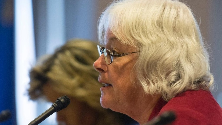 Carolyn Edwards, District F trustee with the Clark County School District speaks during a legislative panel meeting to discuss reorganization plans for the Clark County School District at the Sawyer Building in Las Vegas Tuesday, Aug. 16, 2016. (Jason Ogulnik/Las Vegas Review-Journal via AP)