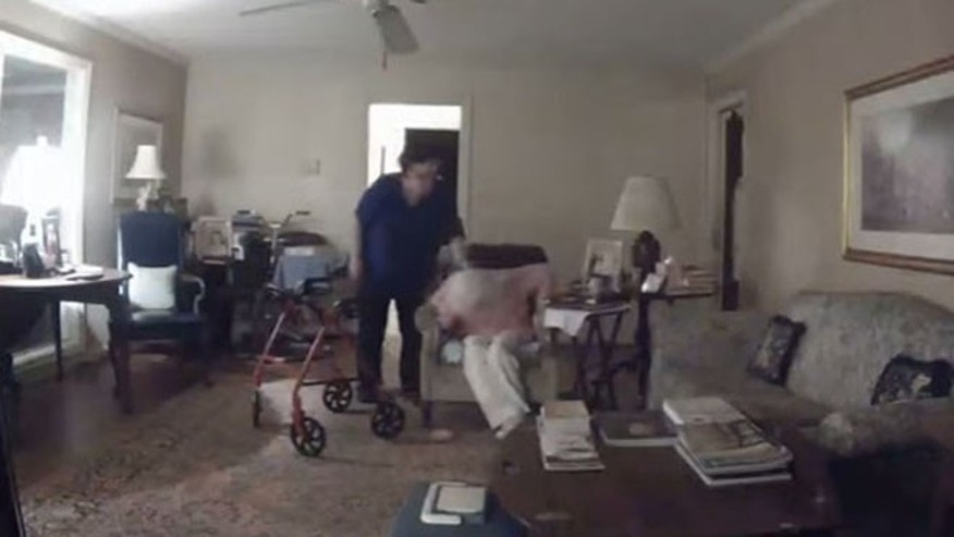 Image from a video that Memorial Villages police say shows caregiver Brenda Floyd striking an elderly woman in her care.