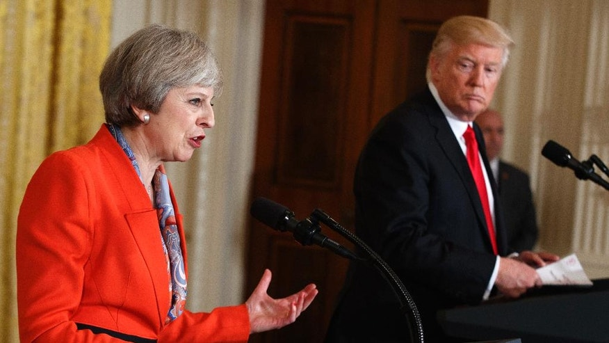 British Prime Minister Theresa May speaks during a news conference with President Donald Trump in the East Room of the White House in Washington, Friday, Jan. 27, 2017. (AP Photo/Evan Vucci)