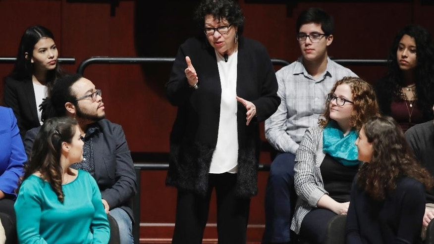 Supreme Court Justice Sonia Sotomayor talks with students during a bicentennial colloquia at the University of Michigan, Monday, Jan. 30, 2017, in Ann Arbor, Mich. (AP Photo/Carlos Osorio)