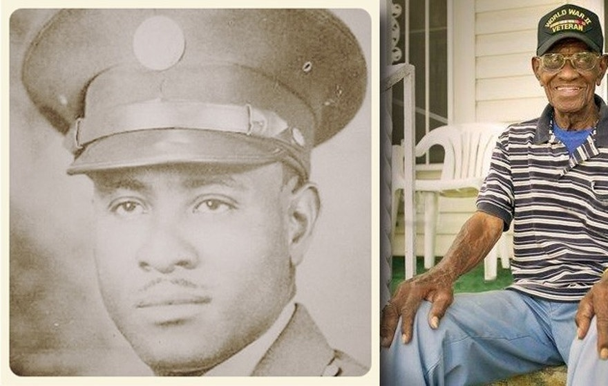 World War II veteran Richard Overton, left, is seen in his Army uniform in an undated photograph provided by the City of Austin. At right, Overton outside his Texas home. (AP/Austin American Statesman)