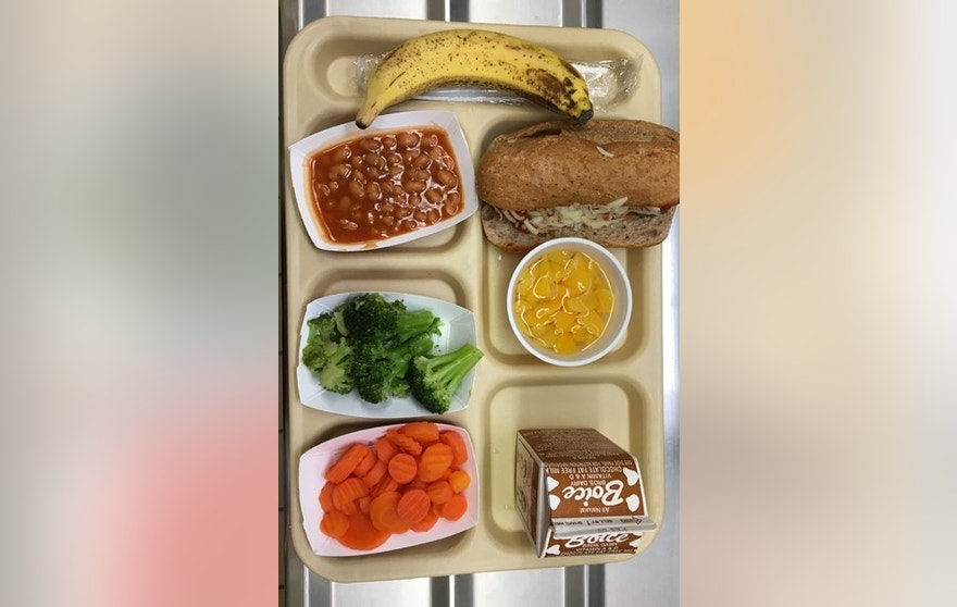 FILE - This Jan. 25, 2017 file photo shows a lunch served at J.F.K Elementary School in Kingston, N.Y., where all meals are now free under the federal Community Eligibility Provision. A donor inspired by a tweet raised money to pay off lunch debt in districts around the country, as well as thousands of dollars in overdue lunch fees at other schools in the Kingston district. (AP Photo/Mary Esch, FIle)