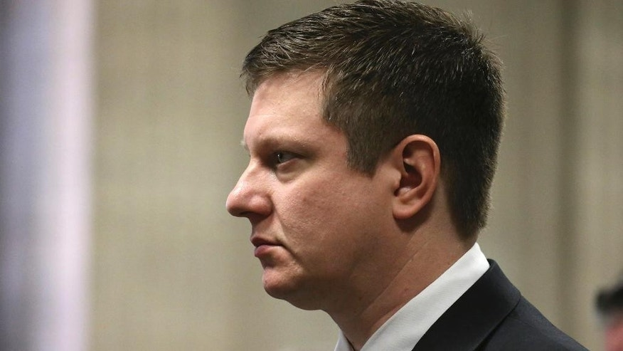 Chicago police officer Jason Van Dyke attends a status hearing at the Leighton Criminal Court building Friday, Feb. 3, 2017, in Chicago. Van Dyke is in court on charges of first-degree murder in the shooting of Laquan McDonald. (Antonio Perez /Chicago Tribune via AP, Pool)