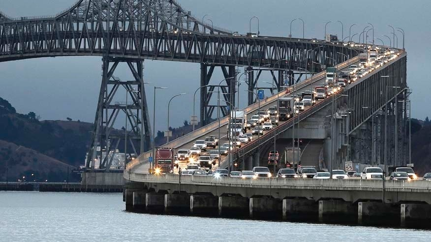 In this Aug. 29, 2013 file photo, traffic slows in the morning commute over the Richmond-San Rafael Bridge in San Rafael, Calif.