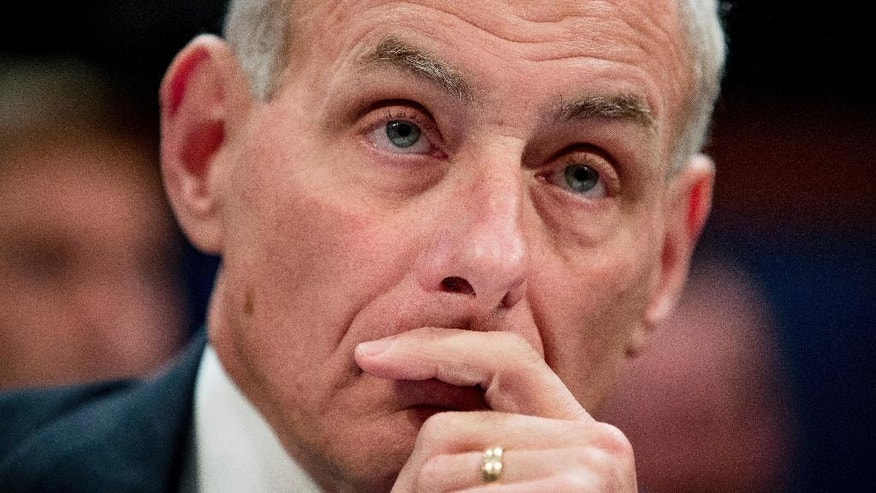 Homeland Security Secretary John Kelly listens while testifying on Capitol Hill in Washington, Tuesday, Feb. 7, 2017, before the House Homeland Security Committee. This is Kelly's first public appearance before lawmakers who are sure to press him for details about the Trump administration's contentious rollout of a travel and refugee ban. (AP Photo/Andrew Harnik)
