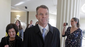 Former Utah Attorney General John Swallow arrives to court Wednesday, Feb. 8, 2017, in Salt Lake City. A corruption trial for Swallow is expected to get underway with opening arguments Wednesday. (AP Photo/Rick Bowmer)