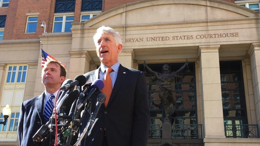 "Virginia Attorney General Mark Herring, right, accompanied by Virginia Solicitor General Stuart Raphael, speaks outside the federal courthouse in Alexandria, Va., Friday, Feb. 10, 2017, following a hearing on President Donald Trump's travel ban. Lawyers for the state of Virginia are challenging President Donald Trump's executive order on immigration, arguing in federal court that his seven-nation travel ban violates the Constitution and is the result of ""animus toward Muslims."" (AP Photo/Jessica Gresko)"