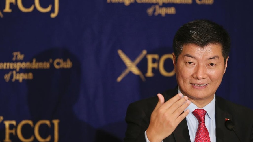Tibetan government-in-exile Prime Minister Lobsang Sangay speaks during a press conference in Tokyo, Monday, Feb. 13, 2017. Sangay said he has high expectations for U.S. President Donald Trump to maintain friendly relations with Tibet, as Trump's predecessors have. (AP Photo/Koji Sasahara)