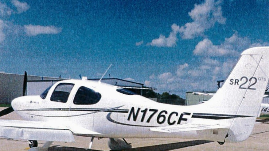 FILE - This 2015 file photo provided by the Bloomington Normal Airport Authority shows a damaged wing of a Cirrus SR22 single-engine plane at the Central Illinois Regional Airport in Bloomington, Ill. Iowa State University President Steven Leath caused damage to the university airplane he was piloting when it made a hard landing at the airport in July 2015. The university expects to lose tens of thousands of dollars unloading the airplane it purchased 2 ½ years ago for Leath's travel, contradicting his claim in December 2016 that the sale could turn a profit. (Bloomington Normal Airport Authority via AP, File)