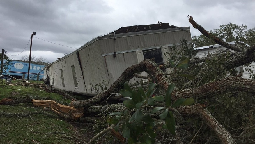 The tornado flipped a mobile home in Van Vleck.