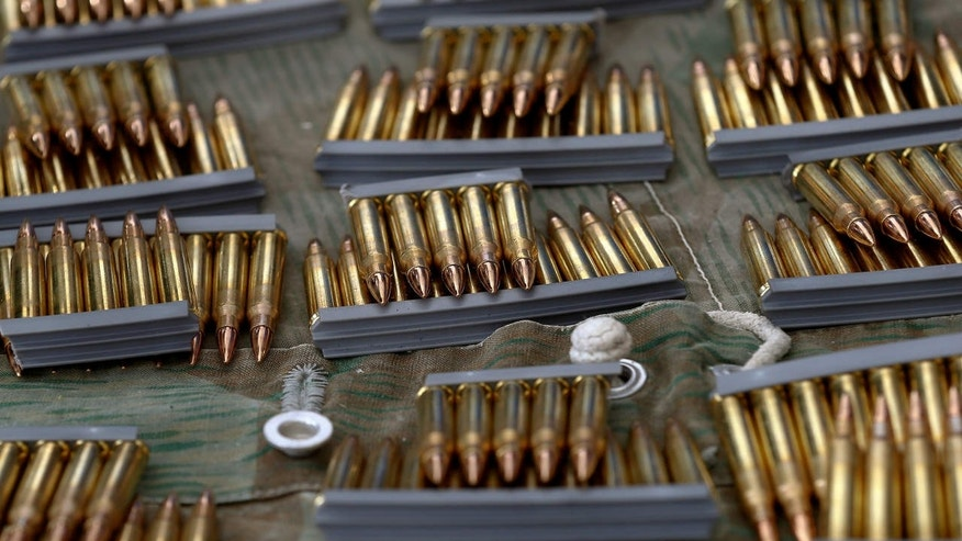 Ammunition for participants is placed on a table during the traditional 'Ruetlischiessen' (Ruetli shooting) competition at the Ruetli meadow in central Switzerland.