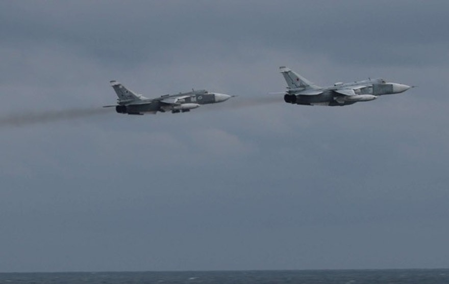 170210-N-N0901-103 - BLACK SEA (Feb. 10, 2017) ) A pair of Russian Su-24 jets pass within close proximity of the guided-missile destroyer USS Porter (DDG 78) while the ship conducts routine maritime operations in international waters, Feb. 10, 2017. Porter, forward-deployed to Rota, Spain, is conducting naval operations in the U.S. 6th Fleet area of operations in support of U.S. national security interests in Europe. (U.S. Navy photo/Released)