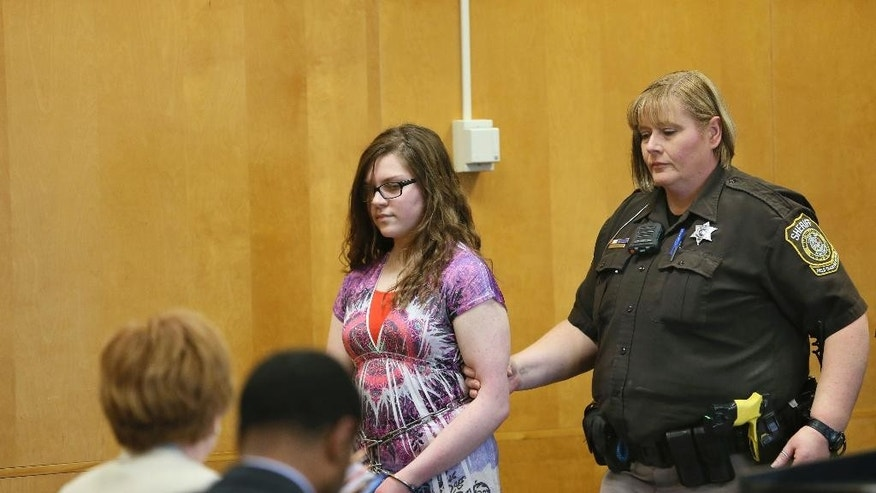 Anissa Weier, 15, appears in court Monday, Feb. 20, 2017, in Waukesha, Wis. A judge has ruled that Weier's statements to police will be admissible at her trial on charges she tried to kill a classmate to please a fictional horror character called Slender Man. (Michael Sears/Milwaukee Journal-Sentinel via AP, Pool)