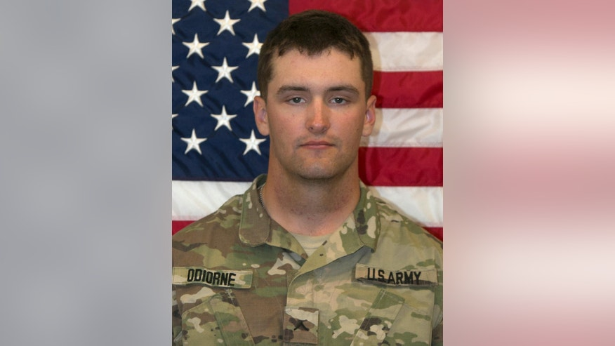 This undated photo released by the U.S. Army shows U.S. Army Pfc. Brian Odiorne, of Ware, Mass. The Pentagon said Tuesday, Feb. 21, 2017, that Odiorne died in Al Anbar Province, Iraq, but that his death was not combat related. He had been assigned to the 2nd Battalion, 82nd Field Artillery Regiment, 3rd Brigade Combat Team, 1st Cavalry Division, based at Fort Hood, Texas. (U.S. Army via AP)