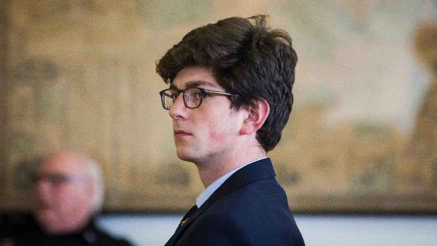 Owen Labrie, 21, is seen during an evidentiary hearing on whether he will be granted a retrial at Merrimack County Superior Court in Concord, N.H., Tuesday, Feb. 21, 2017. Labrie, a prep school graduate convicted of using a computer to lure an underage girl for sex returned to court Tuesday for a hearing on whether his lawyers damaged his case.  (Elizabeth Frantz/The Concord Monitor via AP, Pool)