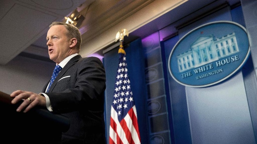 White House press secretary Sean Spicer speaks during the daily press briefing at the White House in Washington, Tuesday, Feb. 21, 2017. (AP Photo/Andrew Harnik)