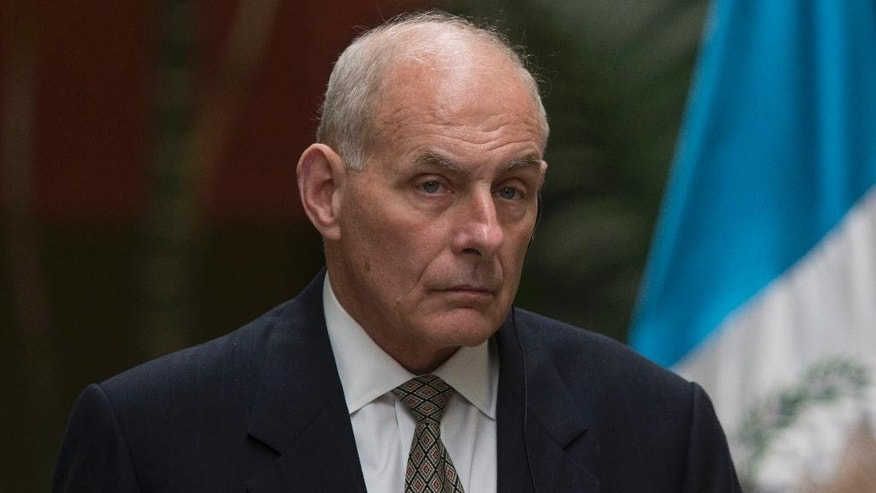 U.S. Secretary of Homeland Security John F. Kelly attends a press conference at Foreign Affairs Ministry in Guatemala City, Wednesday, Feb. 22, 2017. Kelly is in Guatemala for a two day official visit. (AP Photo/Luis Soto)