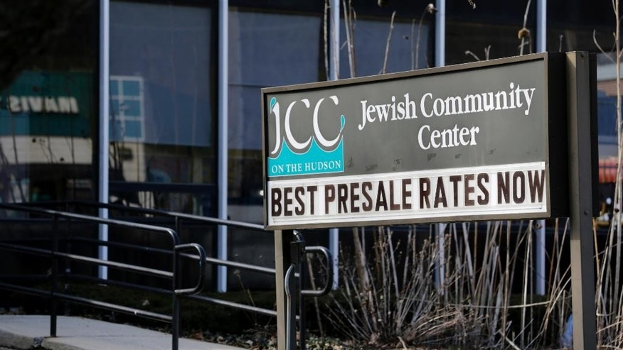 The Jewish Community Center is seen in Tarrytown, N.Y., Tuesday, Feb. 28, 2017. The latest in a wave of bomb threat hoaxes called into more than 20 Jewish community centers and schools across the country has again put administrators in the position of having to decide whether a threatening message on the other end of a phone line was enough to evacuate. (AP Photo/Seth Wenig)